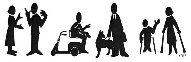 This graphic depicts a series of solid black characters against a white background. First we see a man and woman talking with hand gestures. Then we see a man on a scooter talking to another man holding a seeing-eye dog. On the far right, we see a woman and a child both on crutches.